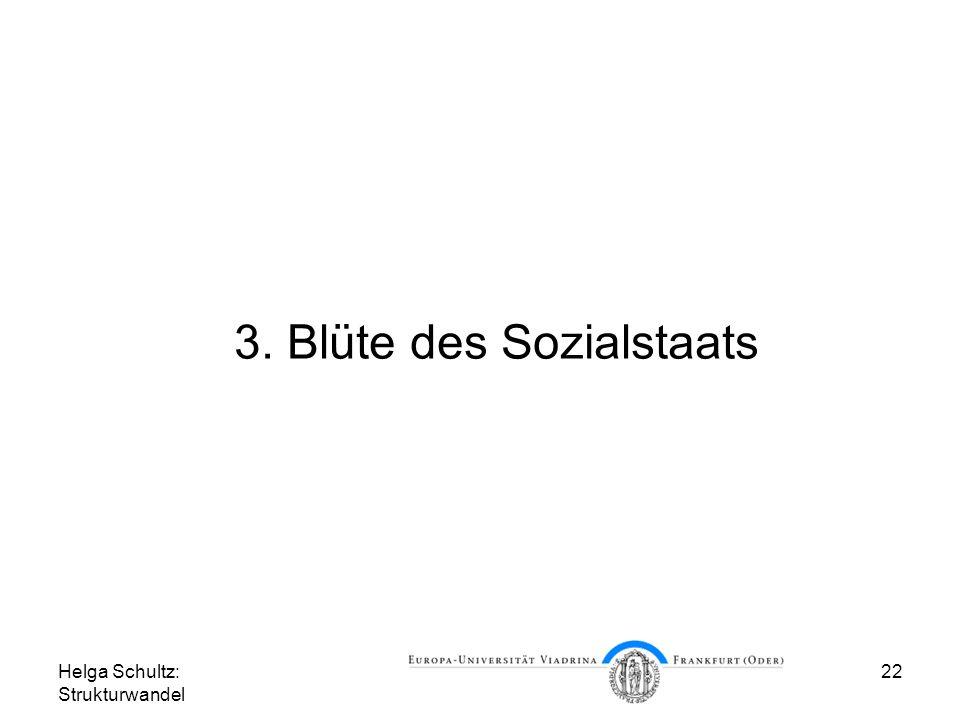 Helga Schultz: Strukturwandel 22 3. Blüte des Sozialstaats