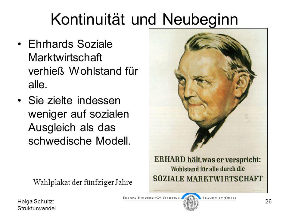 Helga Schultz: Strukturwandel 26 Kontinuität und Neubeginn Ehrhards Soziale Marktwirtschaft verhieß Wohlstand für alle.