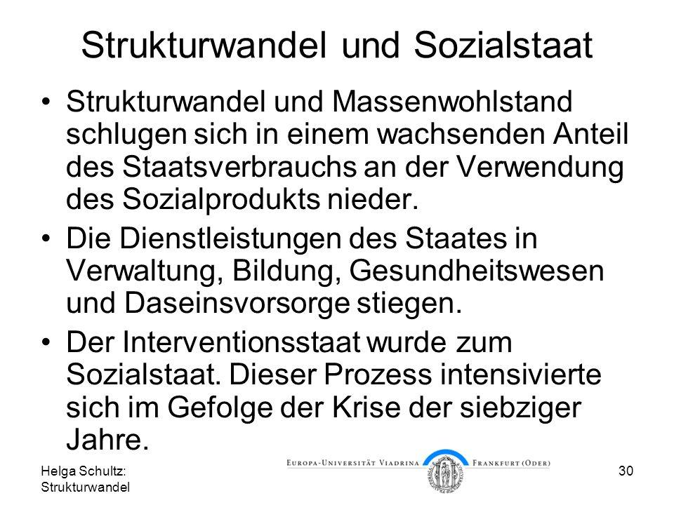 Helga Schultz: Strukturwandel 30 Strukturwandel und Sozialstaat Strukturwandel und Massenwohlstand schlugen sich in einem wachsenden Anteil des Staatsverbrauchs an der Verwendung des Sozialprodukts nieder.