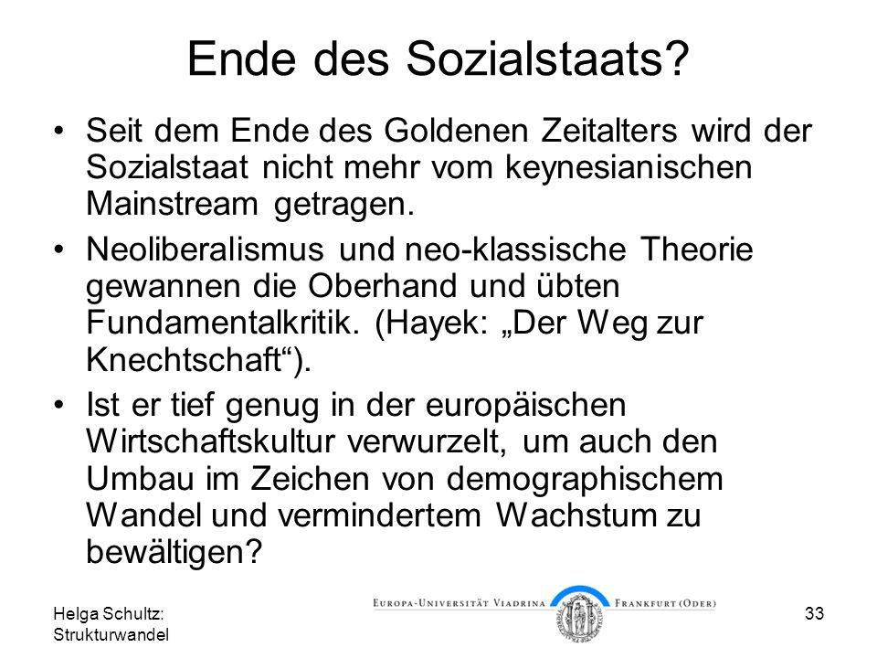 Helga Schultz: Strukturwandel 33 Ende des Sozialstaats.