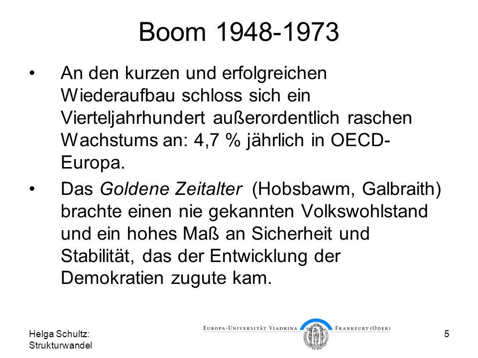 Helga Schultz: Strukturwandel 5 Boom 1948-1973 An den kurzen und erfolgreichen Wiederaufbau schloss sich ein Vierteljahrhundert außerordentlich raschen Wachstums an: 4,7 % jährlich in OECD- Europa.