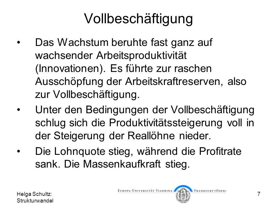 Helga Schultz: Strukturwandel 7 Vollbeschäftigung Das Wachstum beruhte fast ganz auf wachsender Arbeitsproduktivität (Innovationen).