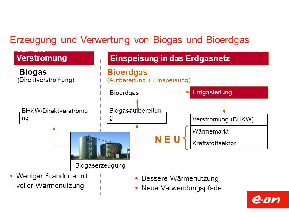 Biogasaufbereitun g Verstromung (BHKW) Wärmemarkt Kraftstoffsektor Bioerdgas Erdgasleitung (Aufbereitung + Einspeisung) Bioerdgas Einspeisung in das E
