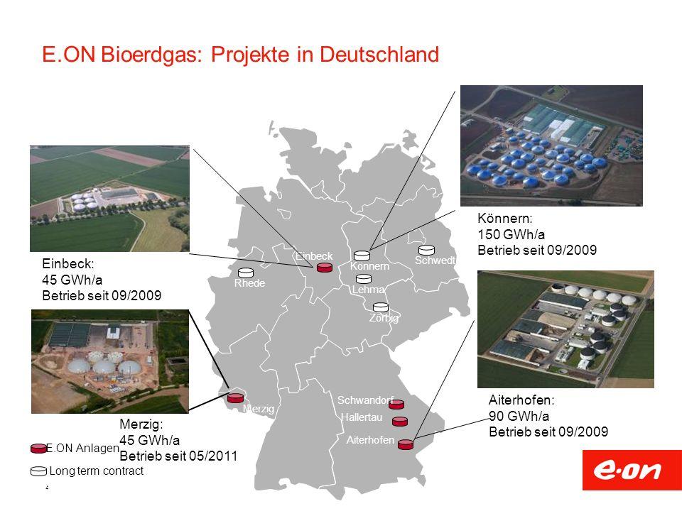 4 E.ON Bioerdgas: Projekte in Deutschland RhedeKönnernLehmaMerzig Hallertau Schwandorf Aiterhofen Einbeck Aiterhofen: 90 GWh/a Betrieb seit 09/2009 Kö