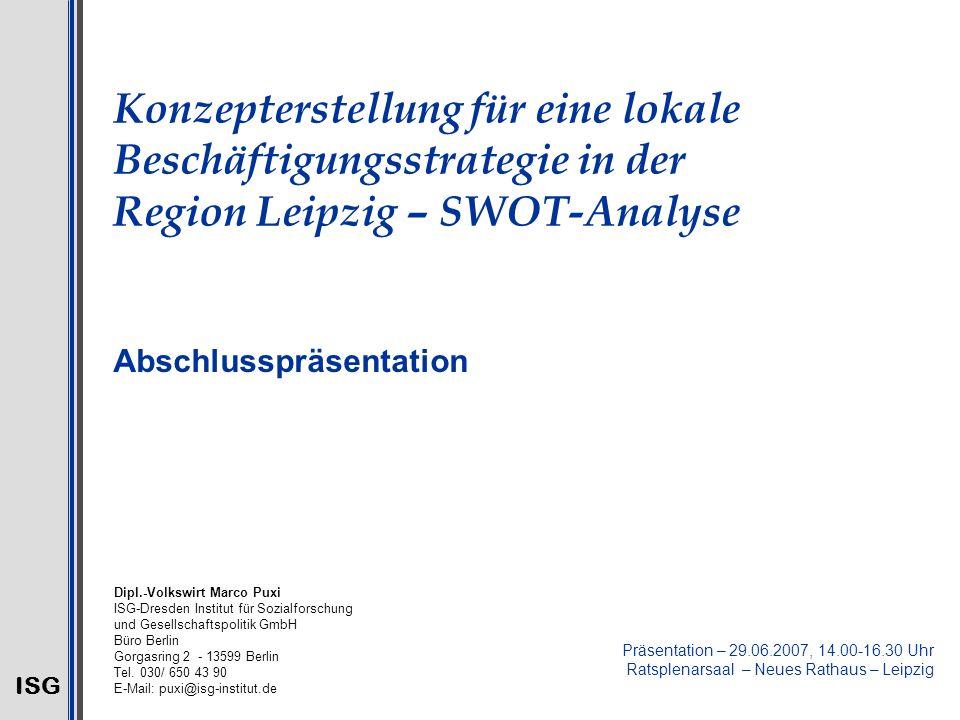 ISG 2 Methodischer Ansatz 1.Längsschnittanalyse auf Ebene der ostdeutschen Kreise/kreisfreien Städte (i.d.R.