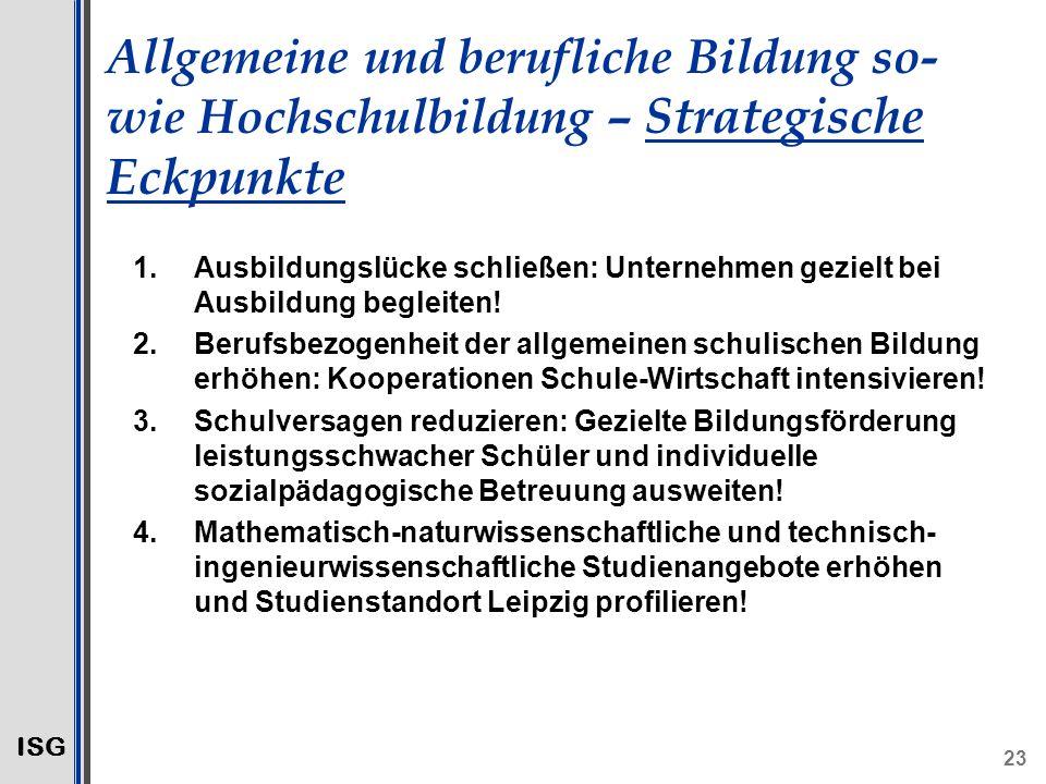 ISG 23 Allgemeine und berufliche Bildung so- wie Hochschulbildung – Strategische Eckpunkte 1.Ausbildungslücke schließen: Unternehmen gezielt bei Ausbildung begleiten.