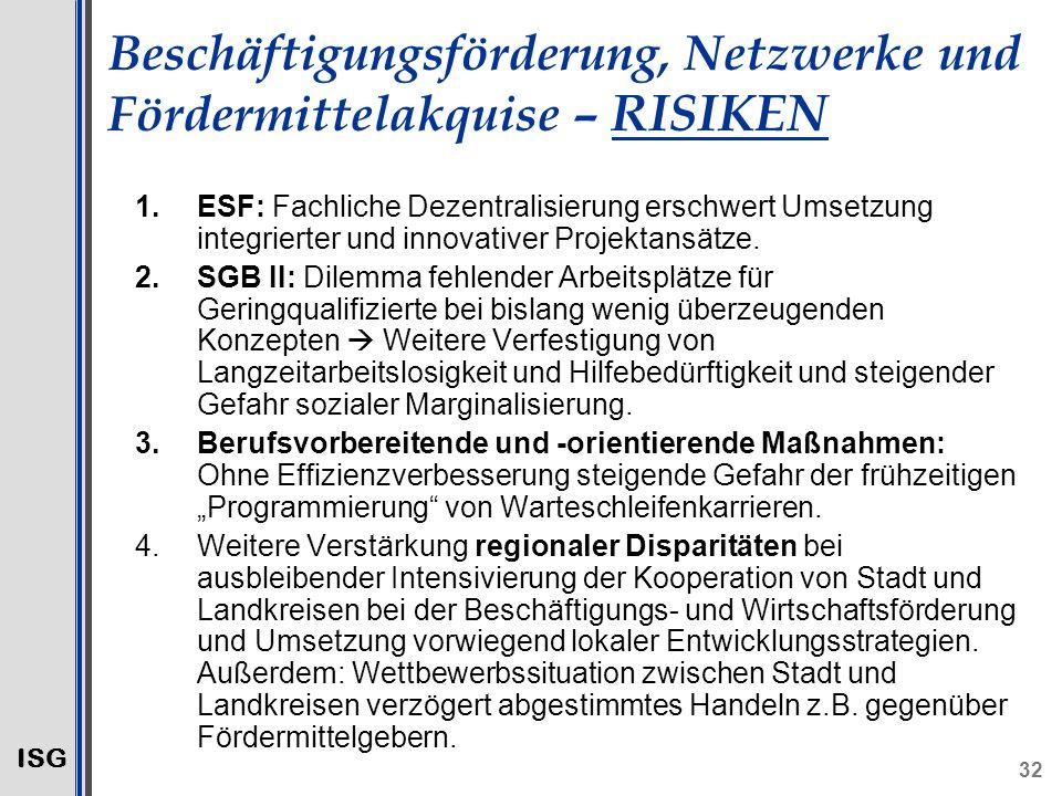 ISG 32 Beschäftigungsförderung, Netzwerke und Fördermittelakquise – RISIKEN 1.ESF: Fachliche Dezentralisierung erschwert Umsetzung integrierter und innovativer Projektansätze.