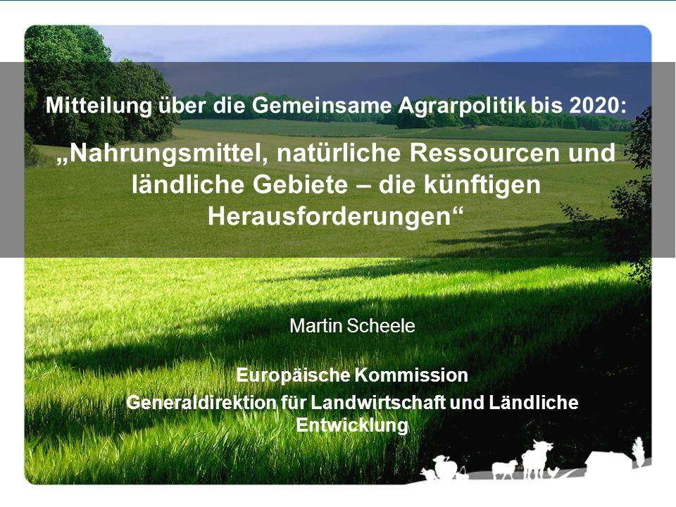 Martin Scheele Europäische Kommission Generaldirektion für Landwirtschaft und Ländliche Entwicklung Mitteilung über die Gemeinsame Agrarpolitik bis 20