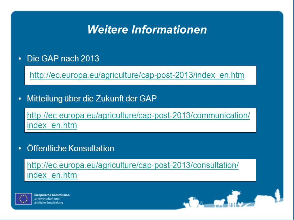 Weitere Informationen Die GAP nach 2013 http://ec.europa.eu/agriculture/cap-post-2013/index_en.htm Mitteilung über die Zukunft der GAP http://ec.europ