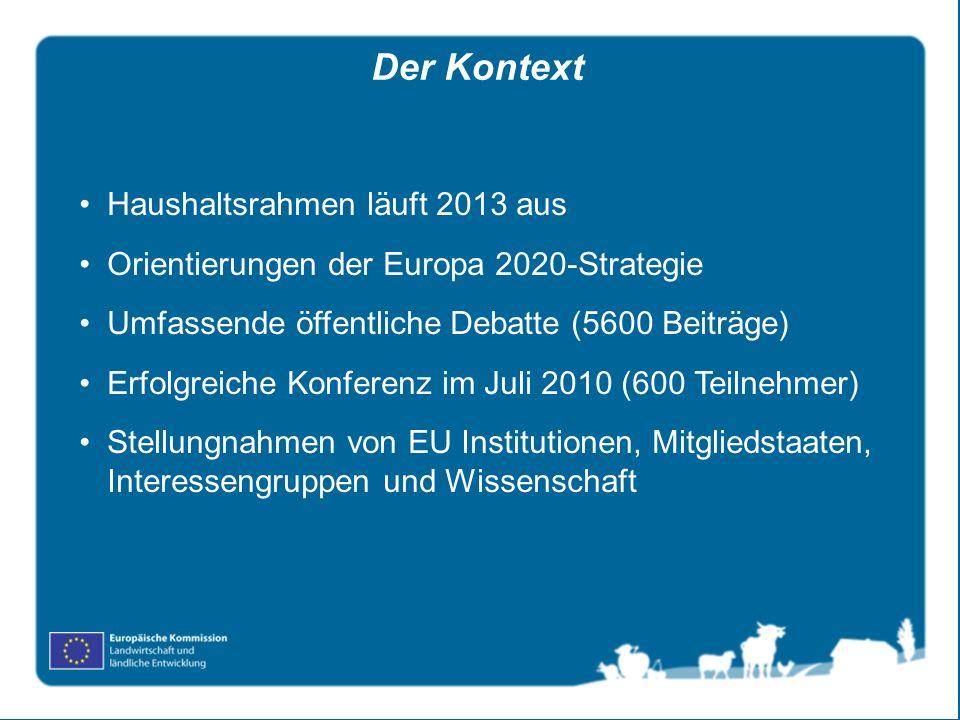 Haushaltsrahmen läuft 2013 aus Orientierungen der Europa 2020-Strategie Umfassende öffentliche Debatte (5600 Beiträge) Erfolgreiche Konferenz im Juli