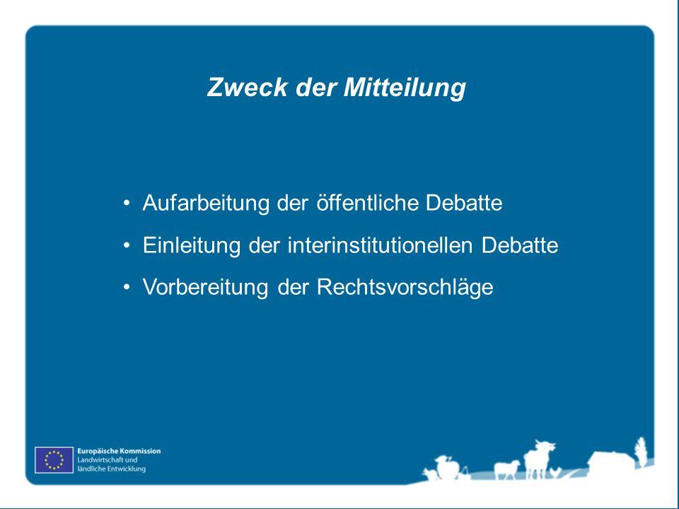 Aufarbeitung der öffentliche Debatte Einleitung der interinstitutionellen Debatte Vorbereitung der Rechtsvorschläge Zweck der Mitteilung