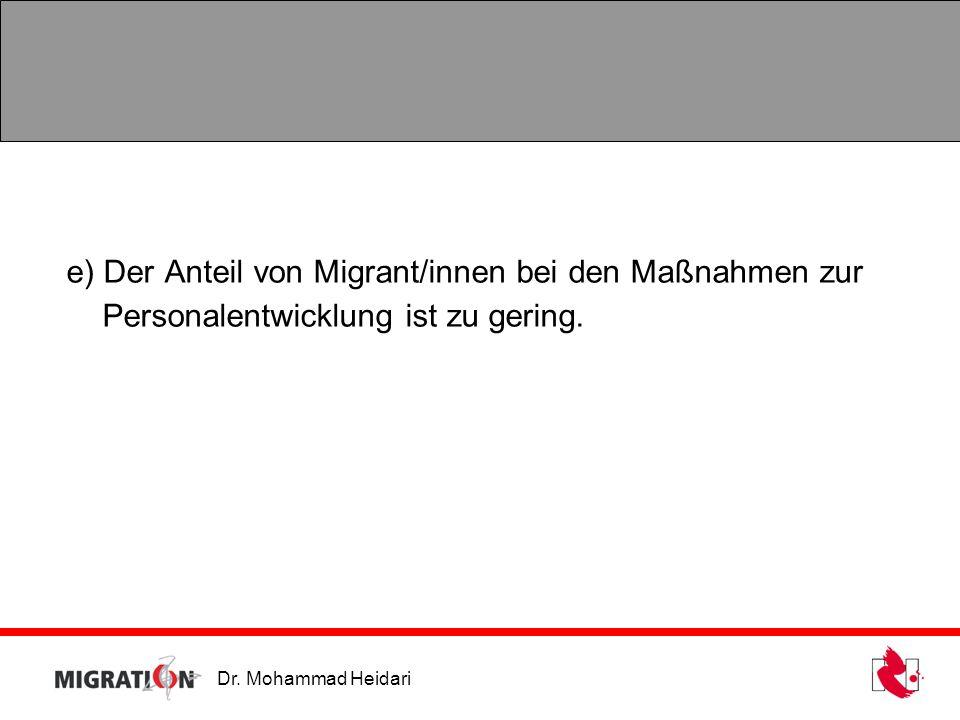 Dr. Mohammad Heidari e) Der Anteil von Migrant/innen bei den Maßnahmen zur Personalentwicklung ist zu gering.
