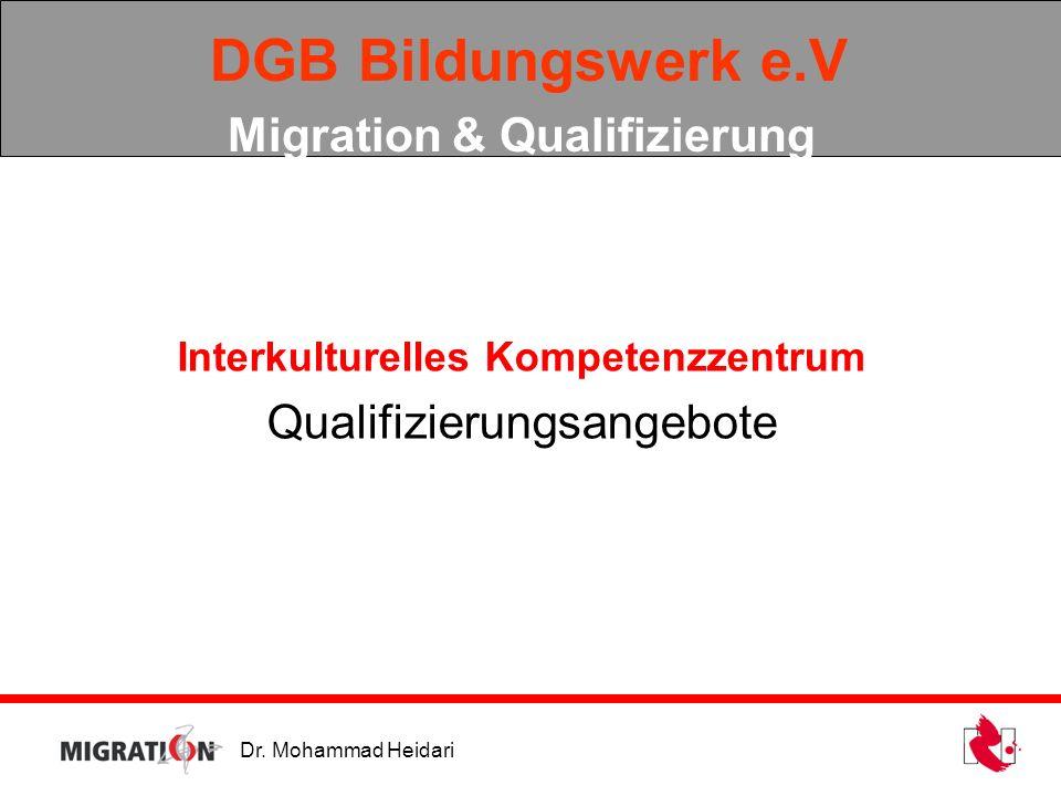 Dr. Mohammad Heidari DGB Bildungswerk e.V Migration & Qualifizierung Interkulturelles Kompetenzzentrum Qualifizierungsangebote