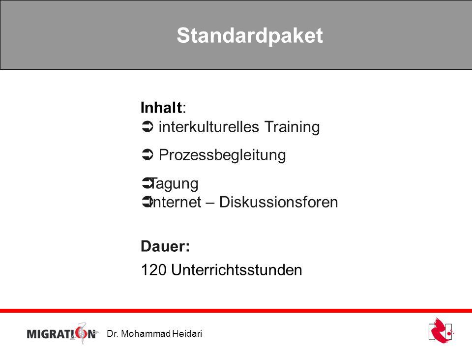 Dr. Mohammad Heidari Standardpaket Inhalt: interkulturelles Training Prozessbegleitung Tagung Internet – Diskussionsforen Dauer: 120 Unterrichtsstunde