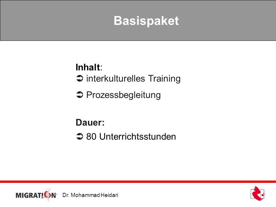 Dr. Mohammad Heidari Basispaket Inhalt: interkulturelles Training Prozessbegleitung Dauer: 80 Unterrichtsstunden