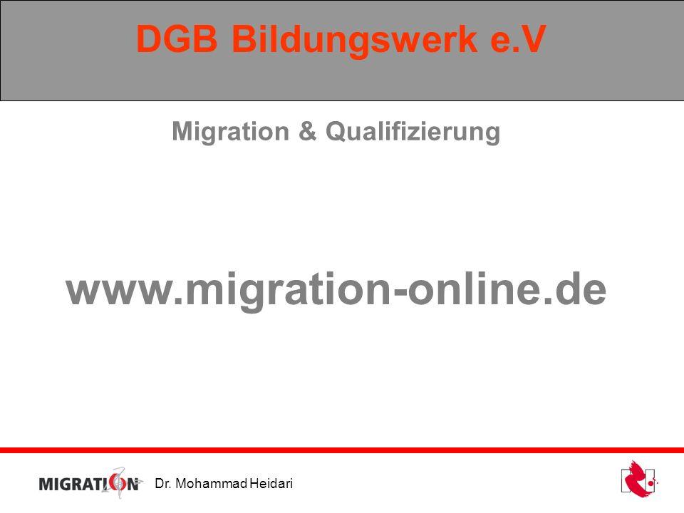 Dr. Mohammad Heidari DGB Bildungswerk e.V Migration & Qualifizierung www.migration-online.de