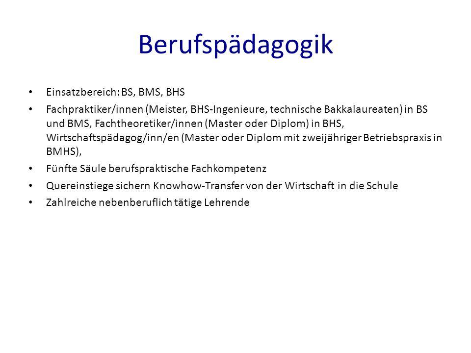 Berufspädagogik Einsatzbereich: BS, BMS, BHS Fachpraktiker/innen (Meister, BHS-Ingenieure, technische Bakkalaureaten) in BS und BMS, Fachtheoretiker/innen (Master oder Diplom) in BHS, Wirtschaftspädagog/inn/en (Master oder Diplom mit zweijähriger Betriebspraxis in BMHS) Fünfte Säule berufspraktische Fachkompetenz Quereinstiege sichern Knowhow-Transfer von der Wirtschaft in die Schule Zahlreiche nebenberuflich tätige Lehrende