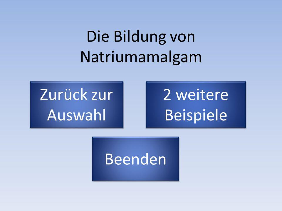 Die Bildung von Natriumamalgam Zurück zur Auswahl Zurück zur Auswahl Beenden 2 weitere Beispiele 2 weitere Beispiele