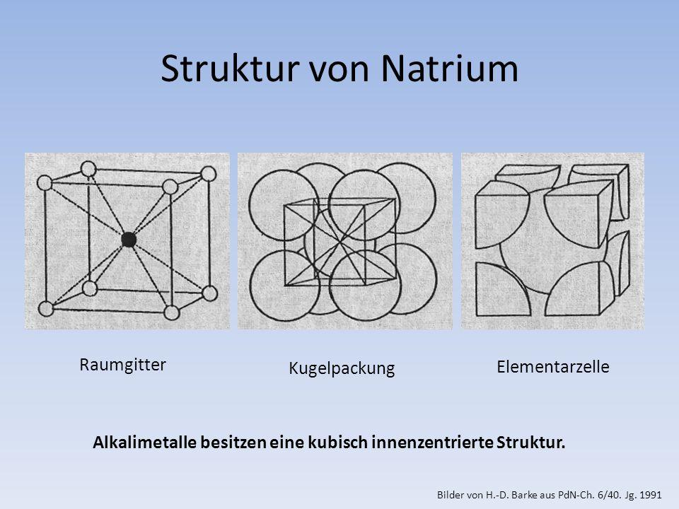 Struktur von Natrium Raumgitter Kugelpackung Elementarzelle Alkalimetalle besitzen eine kubisch innenzentrierte Struktur.