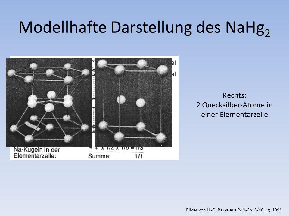Rechts: 2 Quecksilber-Atome in einer Elementarzelle Modellhafte Darstellung des NaHg 2 Bilder von H.-D.