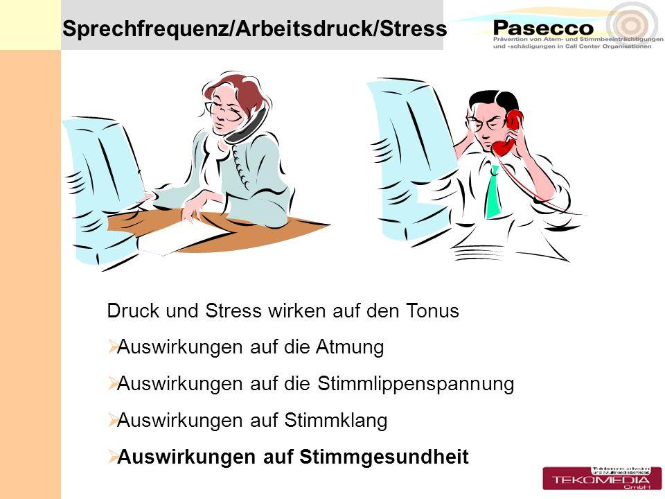 Sprechfrequenz/Arbeitsdruck/Stress Druck und Stress wirken auf den Tonus Auswirkungen auf die Atmung Auswirkungen auf die Stimmlippenspannung Auswirku