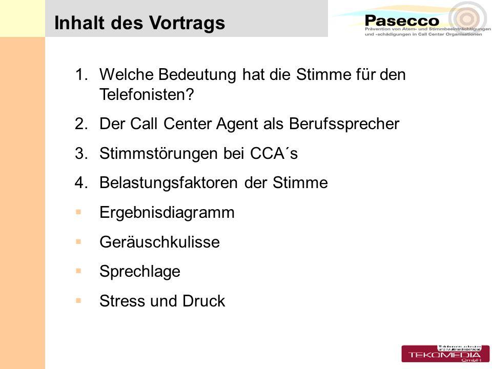 1.Welche Bedeutung hat die Stimme für den Telefonisten? 2.Der Call Center Agent als Berufssprecher 3.Stimmstörungen bei CCA´s 4.Belastungsfaktoren der