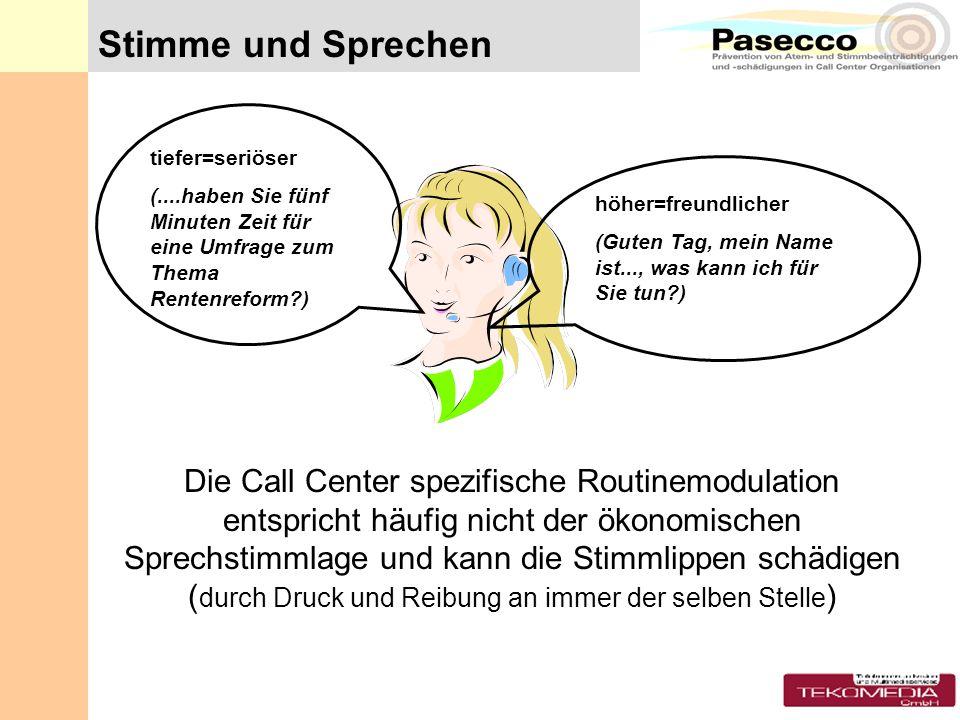 Die Call Center spezifische Routinemodulation entspricht häufig nicht der ökonomischen Sprechstimmlage und kann die Stimmlippen schädigen ( durch Druc