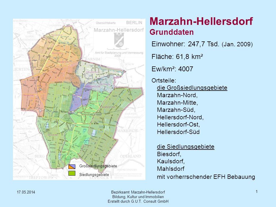 Bezirksamt Marzahn-Hellersdorf Bildung, Kultur und Immobilien Erstellt durch G.U.T. Consult GmbH 17.05.2014 1 Marzahn-Hellersdorf Grunddaten Einwohner