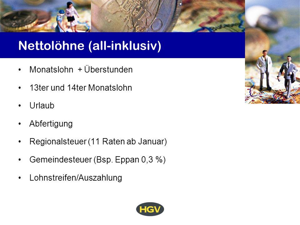 Nettolöhne (all-inklusiv) Monatslohn + Überstunden 13ter und 14ter Monatslohn Urlaub Abfertigung Regionalsteuer (11 Raten ab Januar) Gemeindesteuer (Bsp.