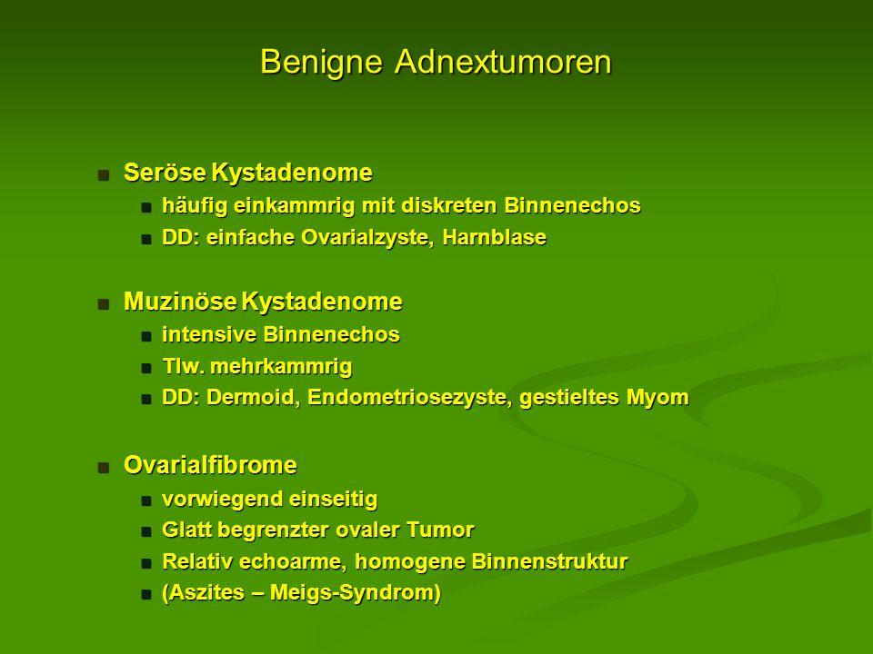 Benigne Adnextumoren Seröse Kystadenome Seröse Kystadenome häufig einkammrig mit diskreten Binnenechos häufig einkammrig mit diskreten Binnenechos DD: