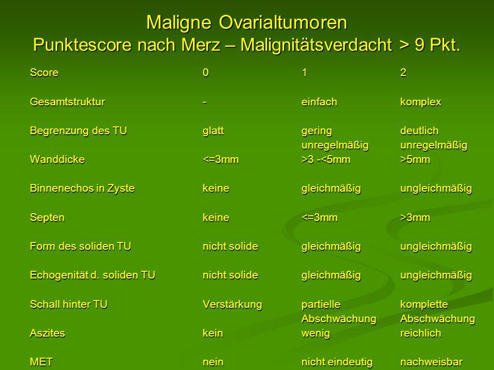 Maligne Ovarialtumoren Punktescore nach Merz – Malignitätsverdacht > 9 Pkt. Score012 Gesamtstruktur-einfachkomplex Begrenzung des TUglattgeringdeutlic