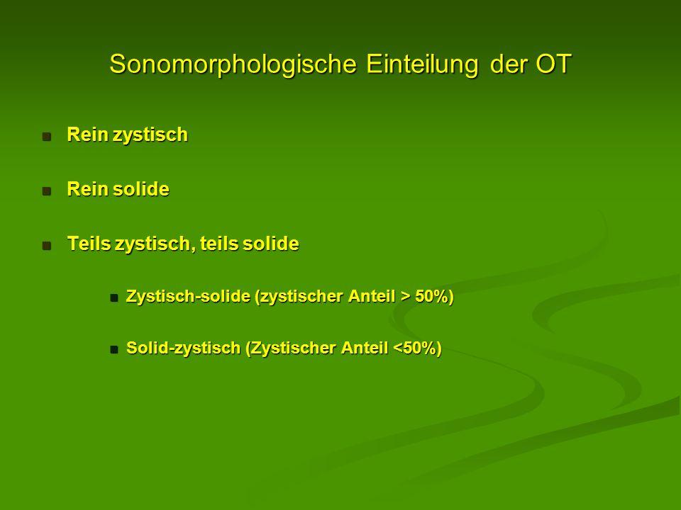 Sonomorphologische Einteilung der OT Rein zystisch Rein zystisch Rein solide Rein solide Teils zystisch, teils solide Teils zystisch, teils solide Zys
