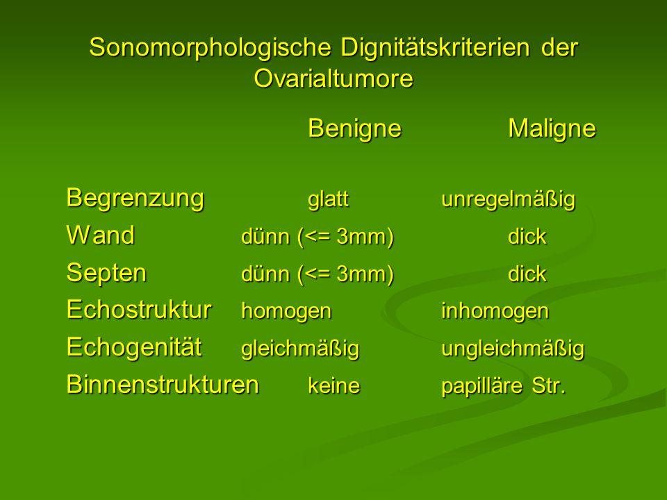 Sonomorphologische Dignitätskriterien der Ovarialtumore BenigneMaligne Begrenzung glattunregelmäßig Wand dünn (<= 3mm)dick Septen dünn (<= 3mm)dick Ec