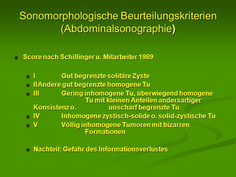 Sonomorphologische Beurteilungskriterien (Abdominalsonographie) Score nach Schillinger u. Mitarbeiter 1989 Score nach Schillinger u. Mitarbeiter 1989