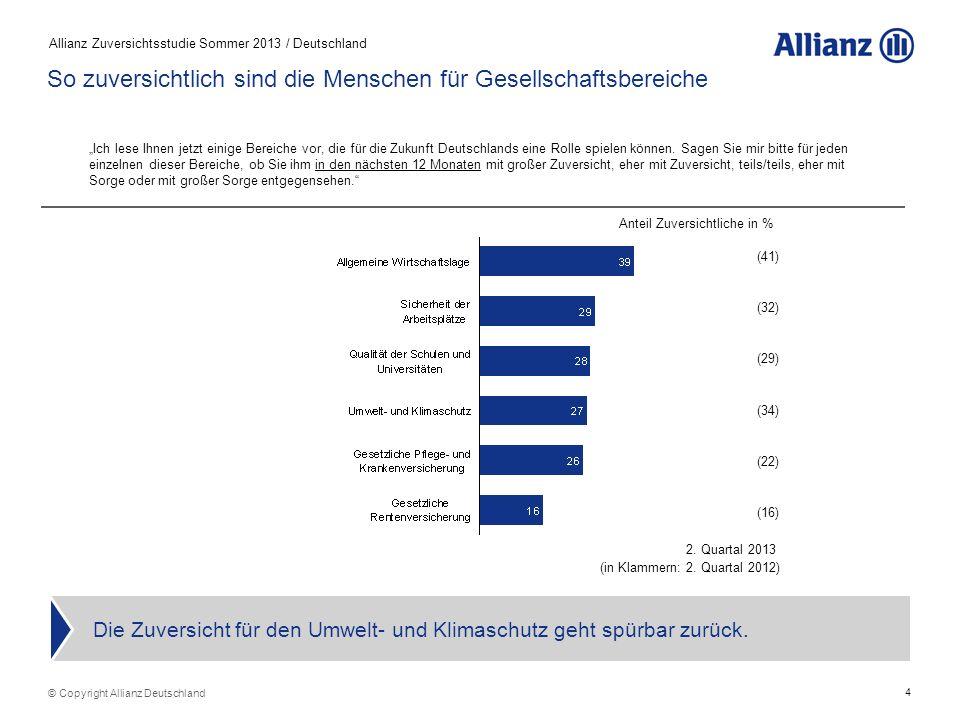 4 Allianz Zuversichtsstudie Sommer 2013 / Deutschland Die Zuversicht für den Umwelt- und Klimaschutz geht spürbar zurück.