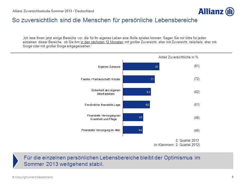 5 Allianz Zuversichtsstudie Sommer 2013 / Deutschland Für die einzelnen persönlichen Lebensbereiche bleibt der Optimismus im Sommer 2013 weitgehend st