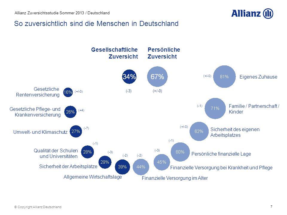 7 Allianz Zuversichtsstudie Sommer 2013 / Deutschland © Copyright Allianz Deutschland So zuversichtlich sind die Menschen in Deutschland Gesellschaftl