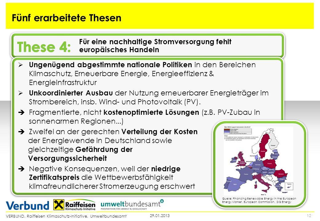 VERBUND, Raiffeisen Klimaschutz-Initiative, Umweltbundesamt 1229.01.2013 Fünf erarbeitete Thesen Für eine nachhaltige Stromversorgung fehlt europäisch