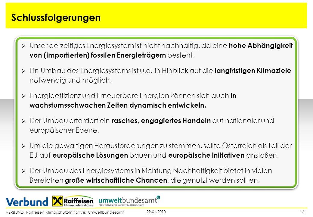 VERBUND, Raiffeisen Klimaschutz-Initiative, Umweltbundesamt 1629.01.2013 Schlussfolgerungen Unser derzeitiges Energiesystem ist nicht nachhaltig, da e