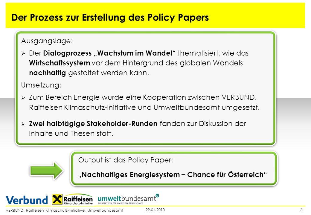 VERBUND, Raiffeisen Klimaschutz-Initiative, Umweltbundesamt Der Prozess zur Erstellung des Policy Papers 329.01.2013 Output ist das Policy Paper: Nach