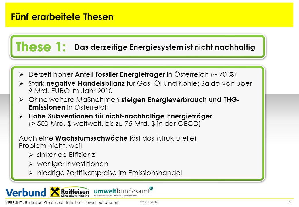 VERBUND, Raiffeisen Klimaschutz-Initiative, Umweltbundesamt Das derzeitige Energiesystem ist nicht nachhaltig 529.01.2013 Fünf erarbeitete Thesen Derz
