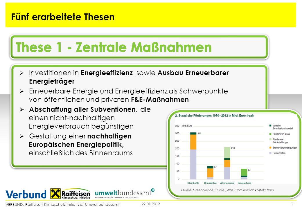 VERBUND, Raiffeisen Klimaschutz-Initiative, Umweltbundesamt 729.01.2013 Fünf erarbeitete Thesen Investitionen in Energieeffizienz sowie Ausbau Erneuer
