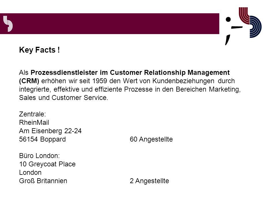 Als Prozessdienstleister im Customer Relationship Management (CRM) erhöhen wir seit 1959 den Wert von Kundenbeziehungen durch integrierte, effektive und effiziente Prozesse in den Bereichen Marketing, Sales und Customer Service.