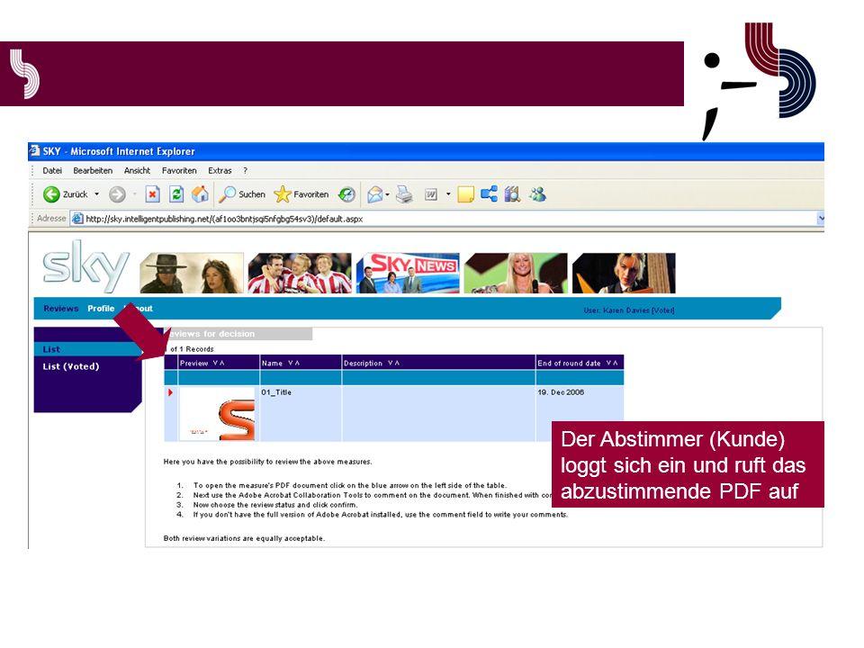 Der Abstimmer (Kunde) loggt sich ein und ruft das abzustimmende PDF auf
