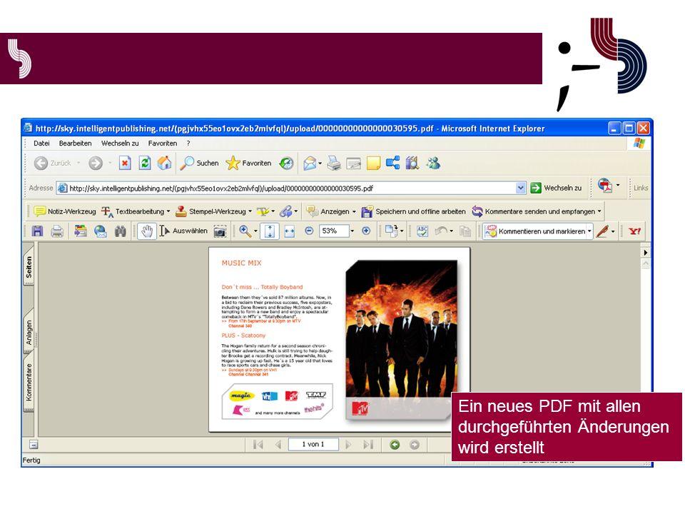Ein neues PDF mit allen durchgeführten Änderungen wird erstellt