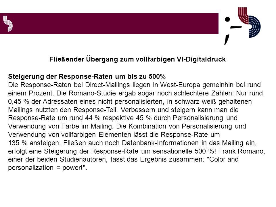 Steigerung der Response-Raten um bis zu 500% Die Response-Raten bei Direct-Mailings liegen in West-Europa gemeinhin bei rund einem Prozent.