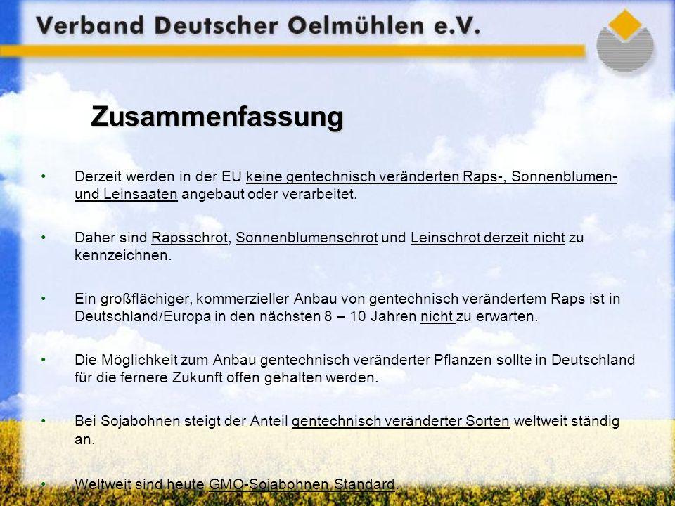 Zusammenfassung Derzeit werden in der EU keine gentechnisch veränderten Raps-, Sonnenblumen- und Leinsaaten angebaut oder verarbeitet. Daher sind Raps