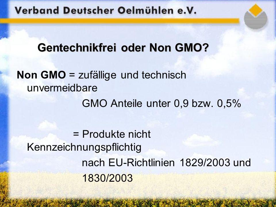Gentechnikfrei oder Non GMO? Non GMO = zufällige und technisch unvermeidbare GMO Anteile unter 0,9 bzw. 0,5% = Produkte nicht Kennzeichnungspflichtig
