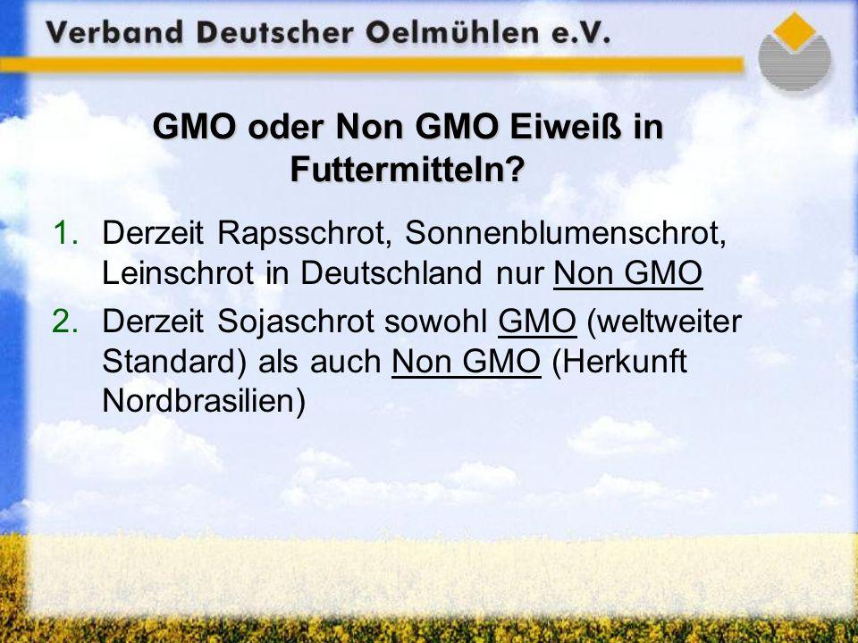GMO oder Non GMO Eiweiß in Futtermitteln? 1.Derzeit Rapsschrot, Sonnenblumenschrot, Leinschrot in Deutschland nur Non GMO 2.Derzeit Sojaschrot sowohl