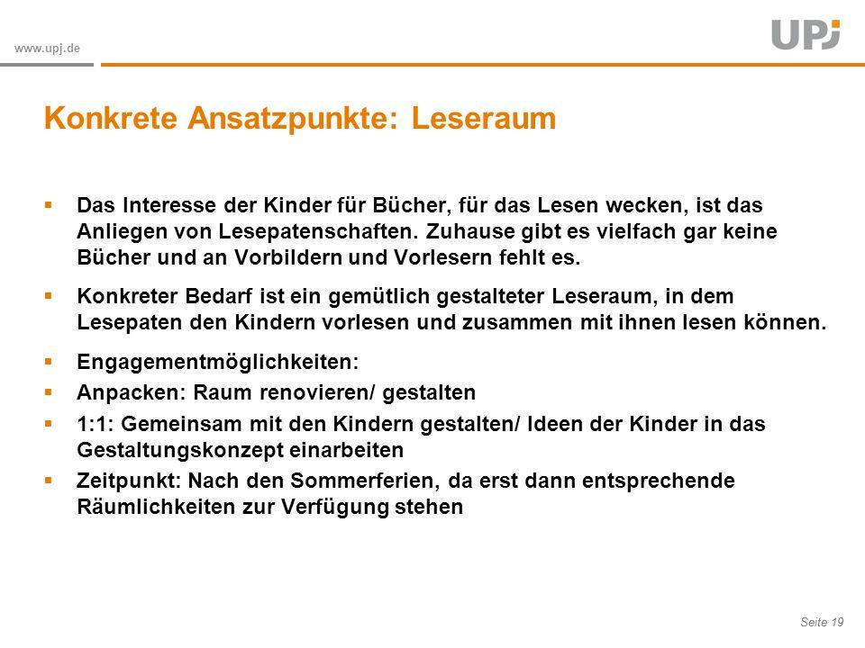 Amt für Soziale Arbeit Seite 19 www.upj.de Das Interesse der Kinder für Bücher, für das Lesen wecken, ist das Anliegen von Lesepatenschaften.